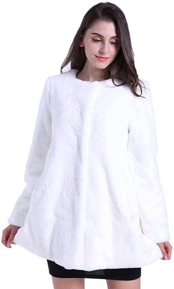 Peacherish Women's Faux Fur Coat Long Sleeve Winter Warm Vintage Thick Jacket