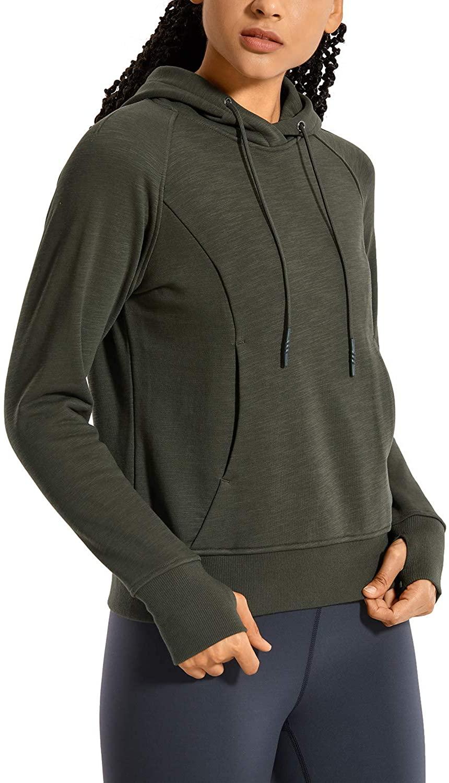 CRZ YOGA Women's Cotton Hoodies Pullover Hooded Sweatshirt Kangaroo Pocket Long Sleeve Workout Top Thumb Holes