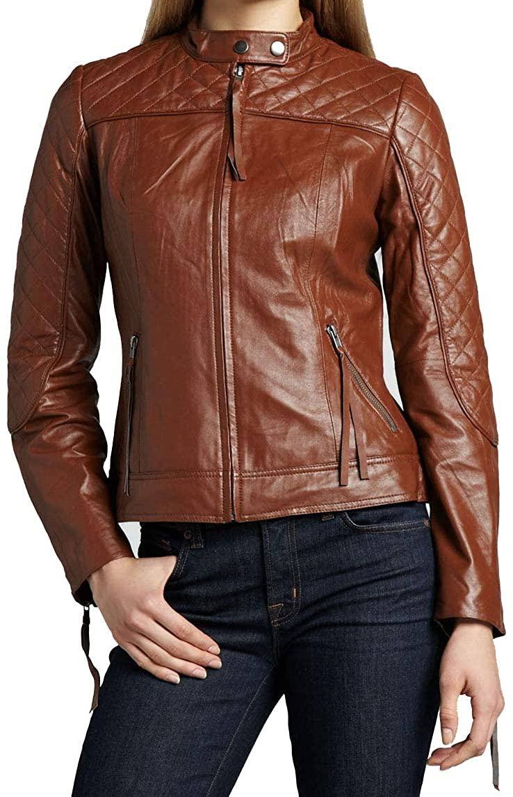 KAINAT Lambskin Leather Craft Women's Biker Jacket 155