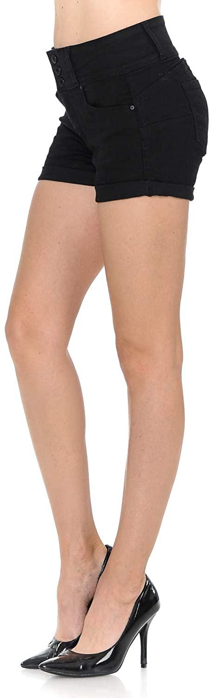 bluensquare Womens Juniors Denim Shorts High Rise Stretched 5 Pockets Cute Short Black Jeans