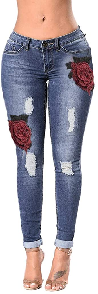 GLVSZ Womens Basic Distressed Jeans Long Slim Casual Destroyed Skinny Jean Pants