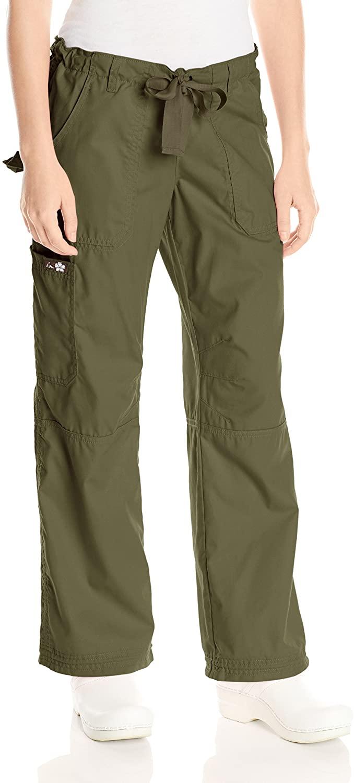 KOI Women's Lindsey Ultra Comfortable Cargo Style Scrub Pants Sizes, Olive Green, Small Petite