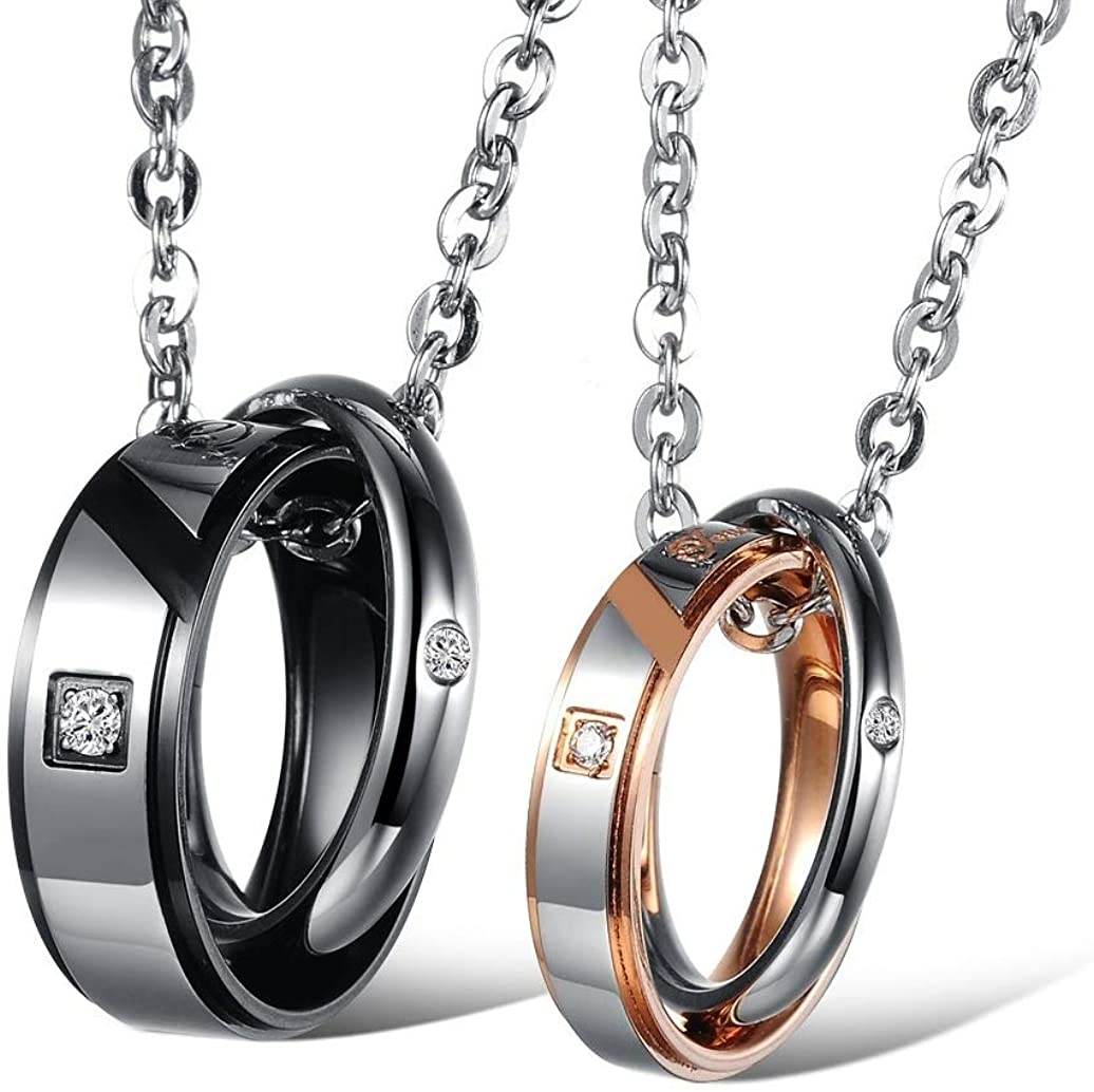 SunnyHouse His & Hers Matching Set Couple Titanium Stainless Steel Pendant Necklace Simple Style in a Gift Box (One Pair)