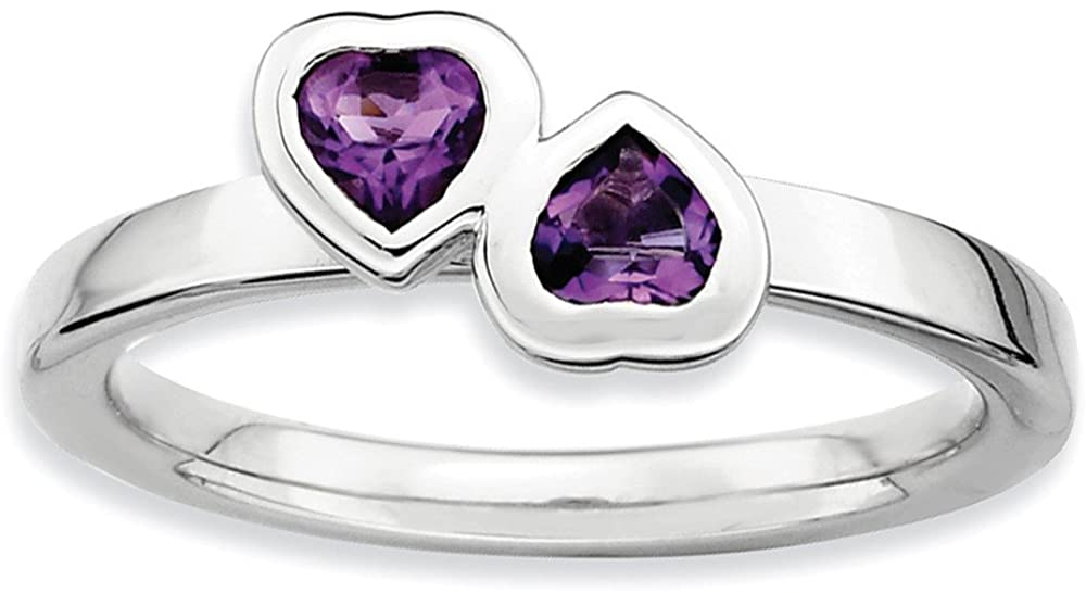 Sterling Silver Stackable Expressions Amethyst Double Heart Ring Size 10