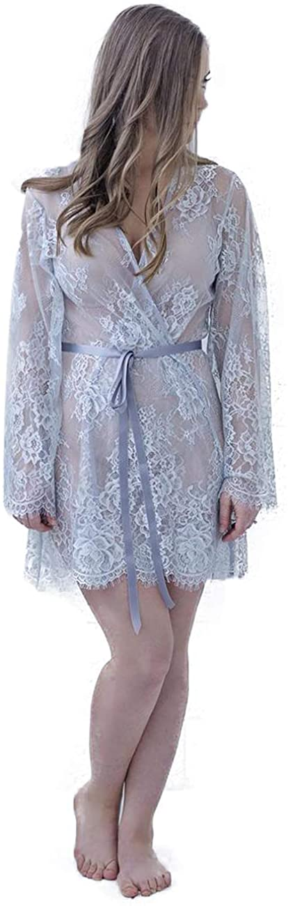 BathGown Women's Bridal Robe Dressing Gown Lace Robe Getting Ready Gown Wedding Gown