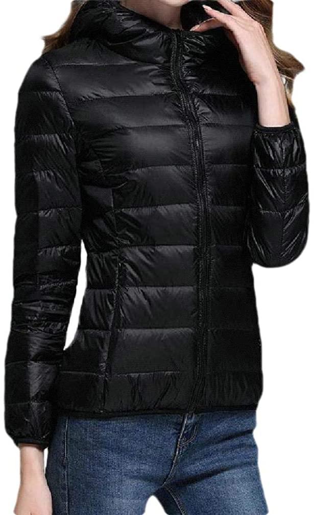 DressUWomen Thin Plus Size Slim Fit Solid Hood Lightweight Outdoor Down Coat