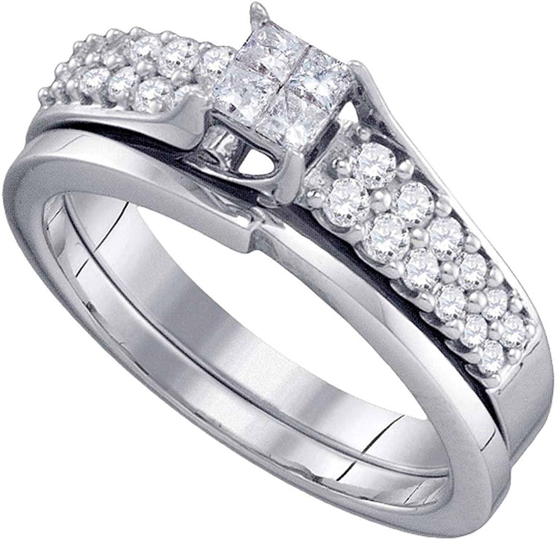 Dazzlingrock Collection 0.5 Carat (Ctw) Diamond Princess Bridal Wedding Ring Set 1/2 Ctw, 14k White Gold