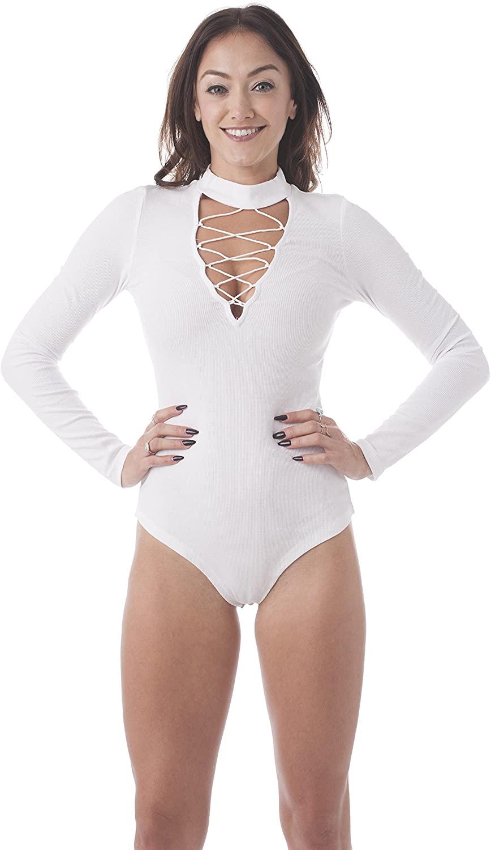 Khanomak Long Sleeve Ribbed Mock Neck V Shape Strappy Lace Up Chocker Style Cotton Bodysuit