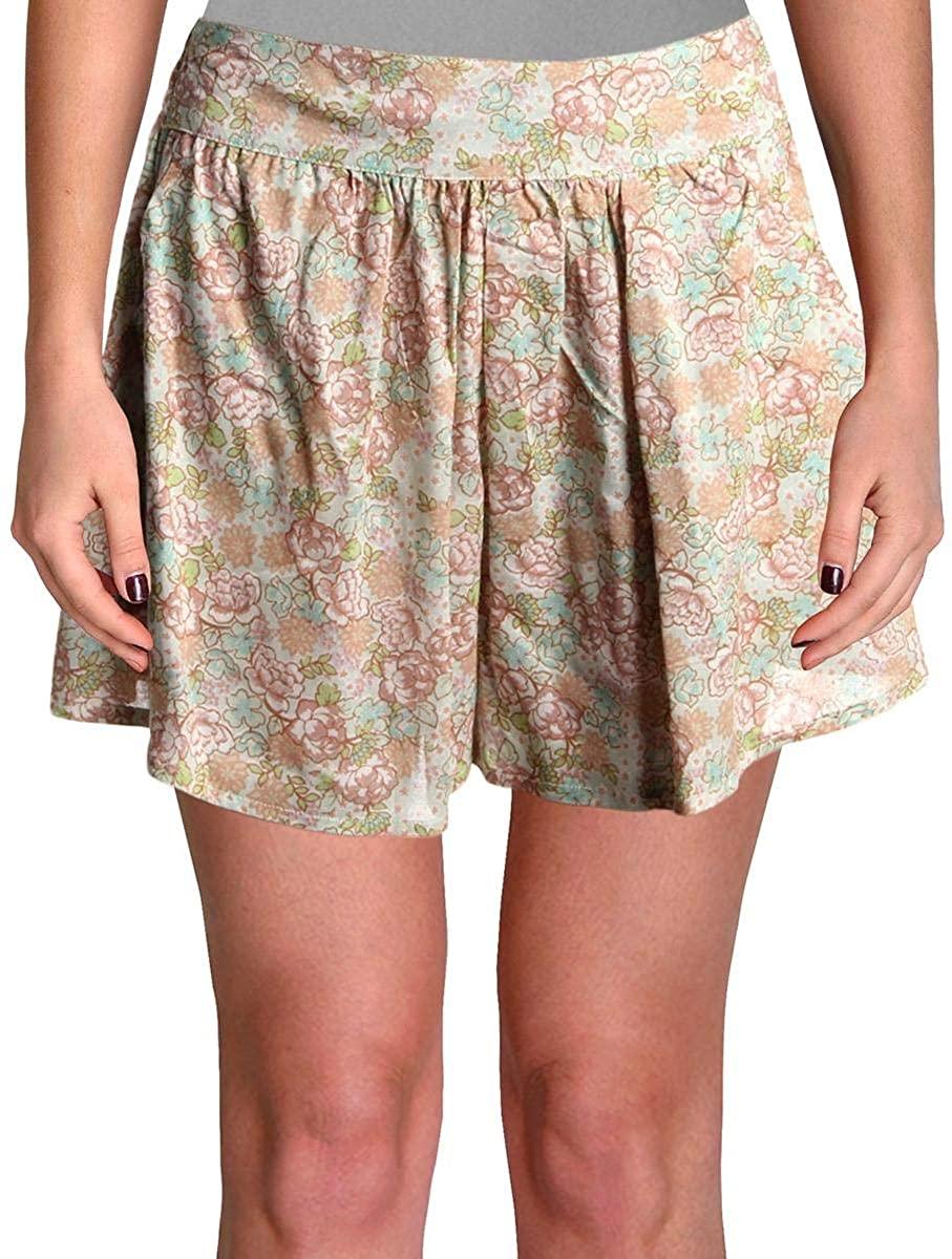 Aqua Womens Grove Floral Print Mini High-Waist Shorts