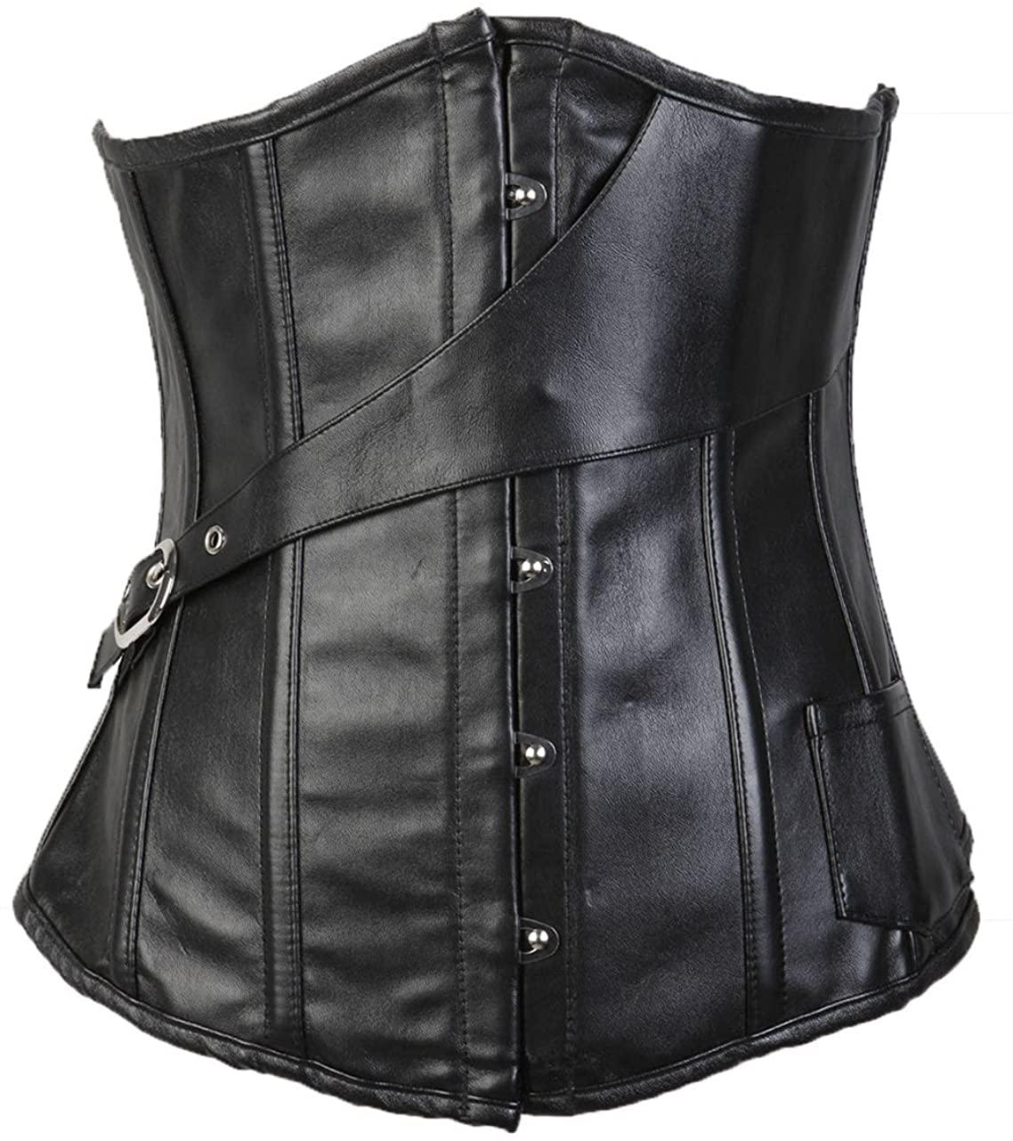 Lotsyle Faux Leather Steampunk Underbust Lace up Back Corset