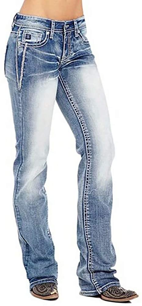 2020 New Womens Jeans American Flag Bootcut Jeans,Patchwork Vintage Stretch Washed Mid Rise Bootcut Jeans Blue XL