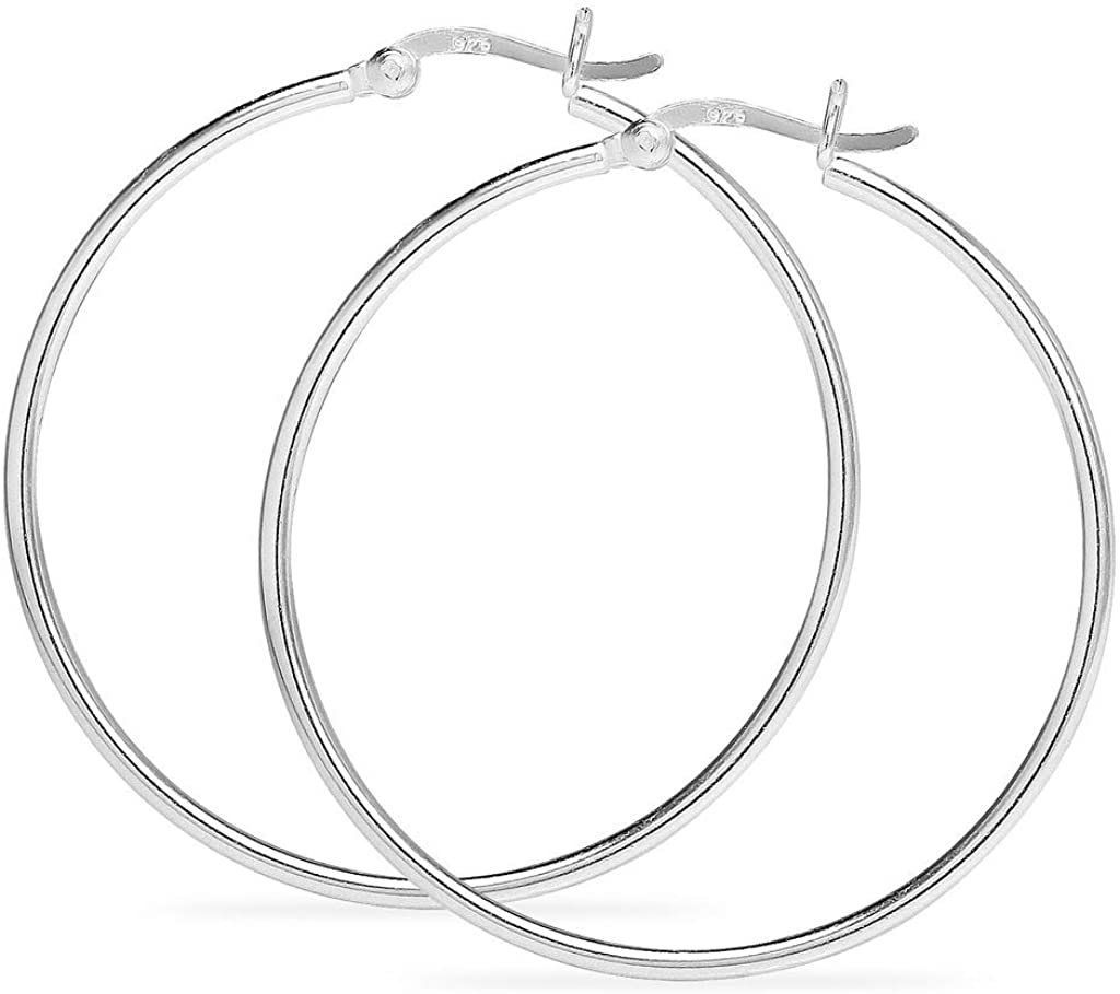 925 Sterling Silver High Polished Round Thin Click-Top Tube Hoop Earrings, Choose Your Size