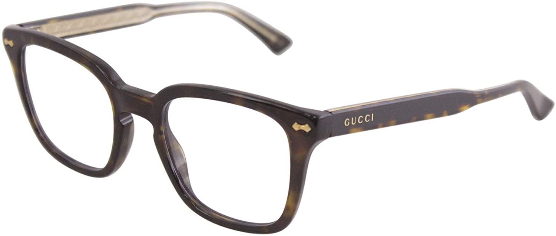 Gucci 0184O 002 Havana Plastic Square Eyeglasses 50mm