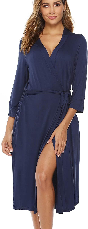 YAWOVE Womens Cotton Kimono Robes Lightweight Long Robe Knit Bathrobe Soft Sleepwear Loungewear
