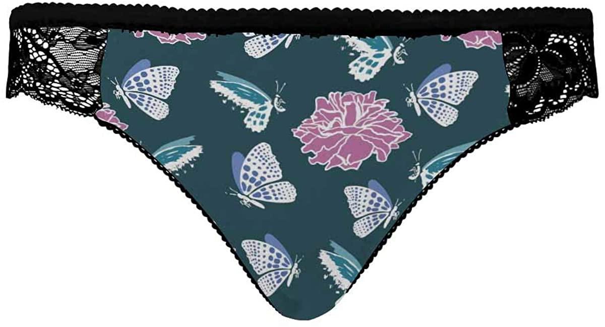 INTERESTPRINT Women's Underwear,Breathable Comfortable Briefs for Women Butterfly Flowers