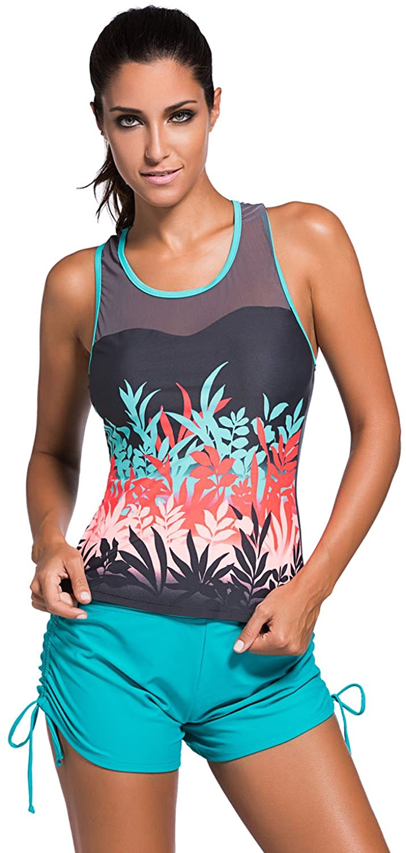 Women's Stripe Print Mesh Splice Sports leisure Tankini Top swimsuit (XXL(18-20), Colored Botanic)
