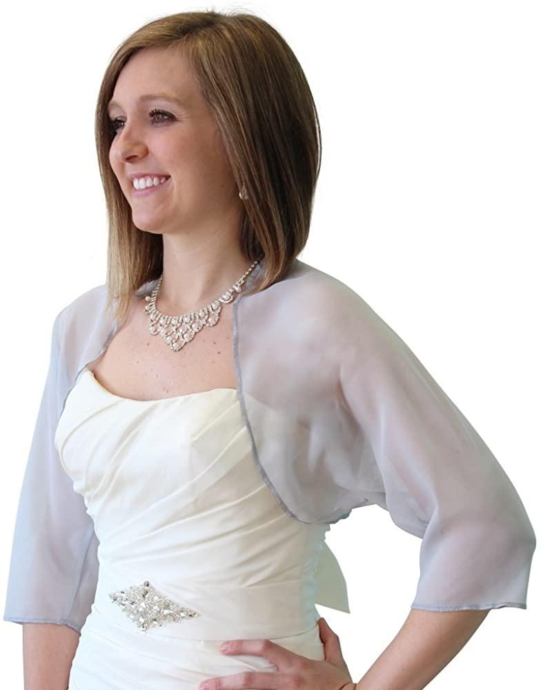 Tion Bridal Women's Chiffon Bolero, Gray