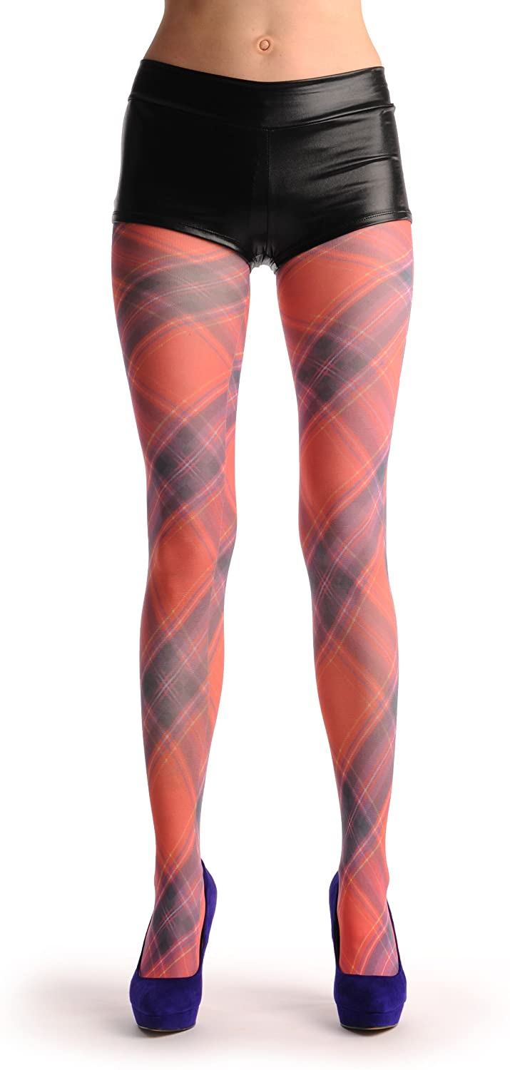 Red Checkered Diagonal Print - Red Printed Geometrical Pantyhose (Tights)