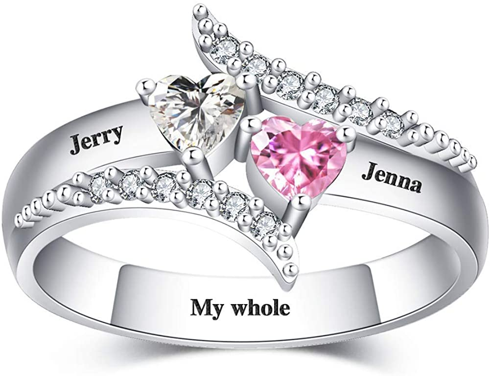 Shinelady Personalized Promise Ring with 2 Birthstones, Custom Engraved Name Ring for Mother's Day Customized 925 Sterling Silver Jewelry Gift for Women