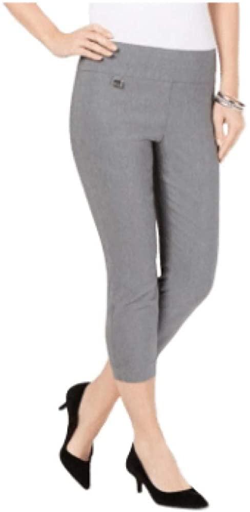 Alfani Tummy-Control Pull-On Capri Pants, Grey 2