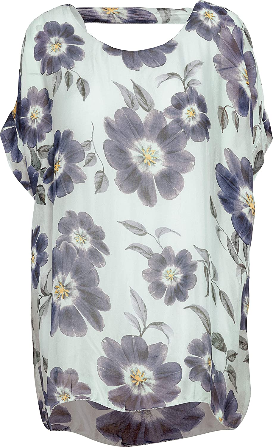 M Made in Italy Women's Floral Print Short Sleeve Tunic