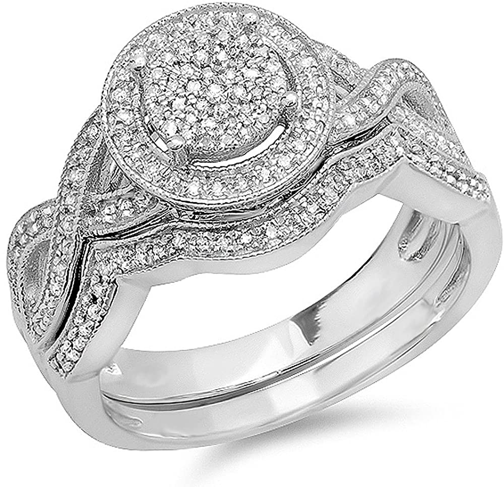 Dazzlingrock Collection 0.50 Carat (ctw) Round White Diamond Womens Micro Pave Engagement Ring Set 1/2 CT, Sterling Silver