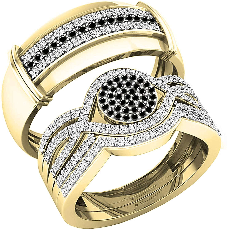 Dazzlingrock Collection 0.65 Carat (ctw) Round Black & White Diamond Men's and Women's Engagement Ring Trio Set, 18K Yellow Gold