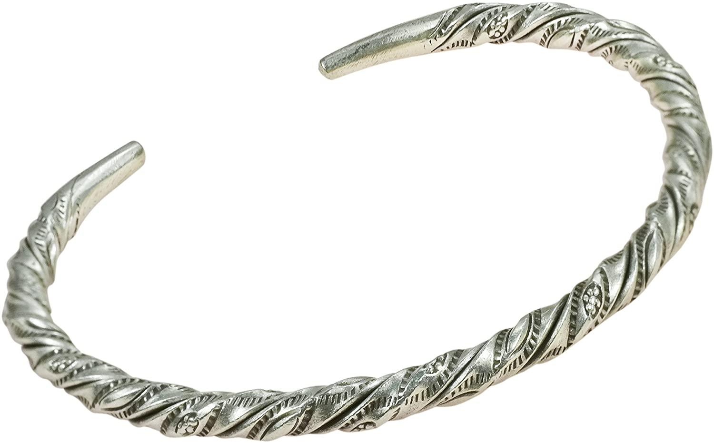 AeraVida Twist Tribal Floral Handmade Thai Karen Hill Tribe Fine Silver Adjustable Cuff Bracelet