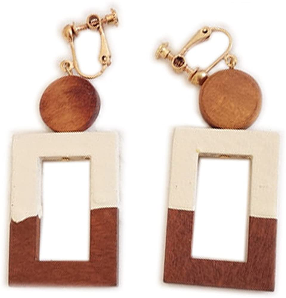 Clip On Earrings Square Earrings Round Style Dangle Delicate Wooden Gold Plated Casual Proms Gift