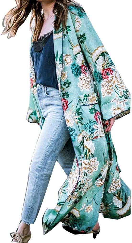 KaiCran Feitong Pretty Bohemia Floral Tassel Long Kimono Oversized Shawl Tops
