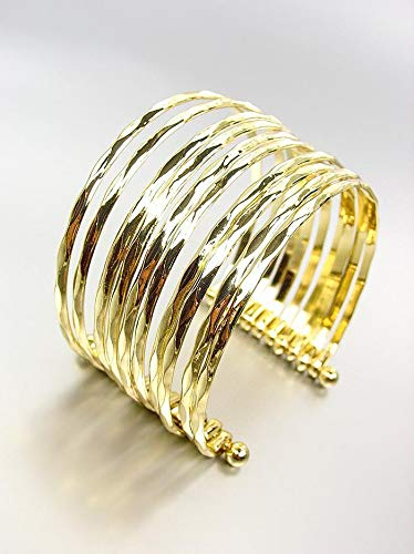 ARTISANAL Gorgeous Gold Metal Ribbed PLUS SIZE Wide Cuff Statement Bracelet
