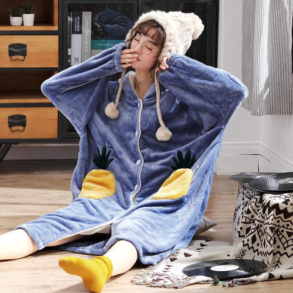 HONGYAOJIAJU Robes for Women,Personality Pineapple Loose Thicken Nightgowns Winter Bathrobe Christmas Xmas Gift Women Pajamas Flannel Warm Sleepwear Ladies Homewear Nightgown