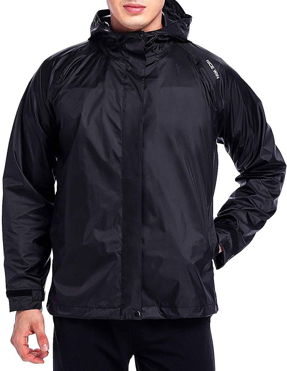 NICEWIN Front-Zip Portable Lightweight Breathable Rain Jacket Hooded Raincoat for Unisex