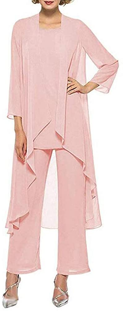 Women's Three-Pieces Pink Chiffon Mother of The Bride Dress Pants Suits Prom Gown US22w