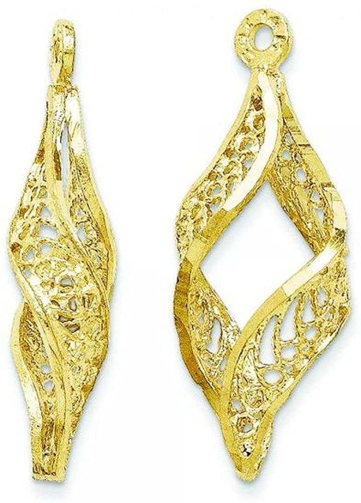 Contemporary Women's Filigree Swirl Earring Jackets in Plain Metal Exemplary 14k Yellow Gold