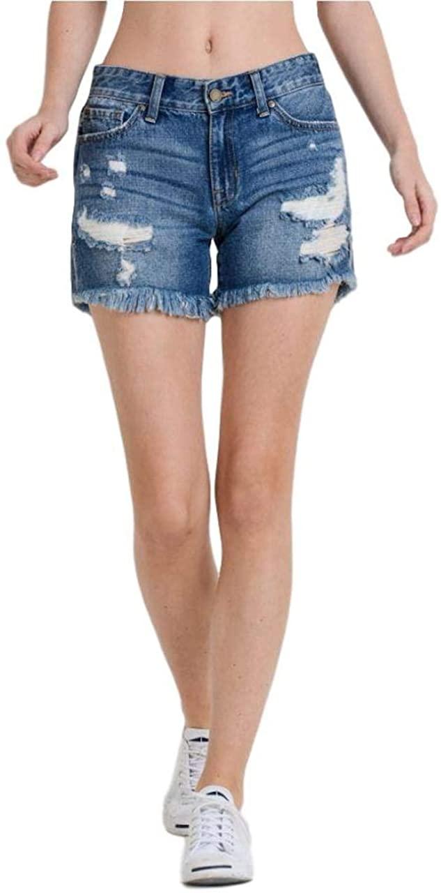 Just USA Jeans Mid Rise Boyfriend Distressed Frayed Hem Shorts
