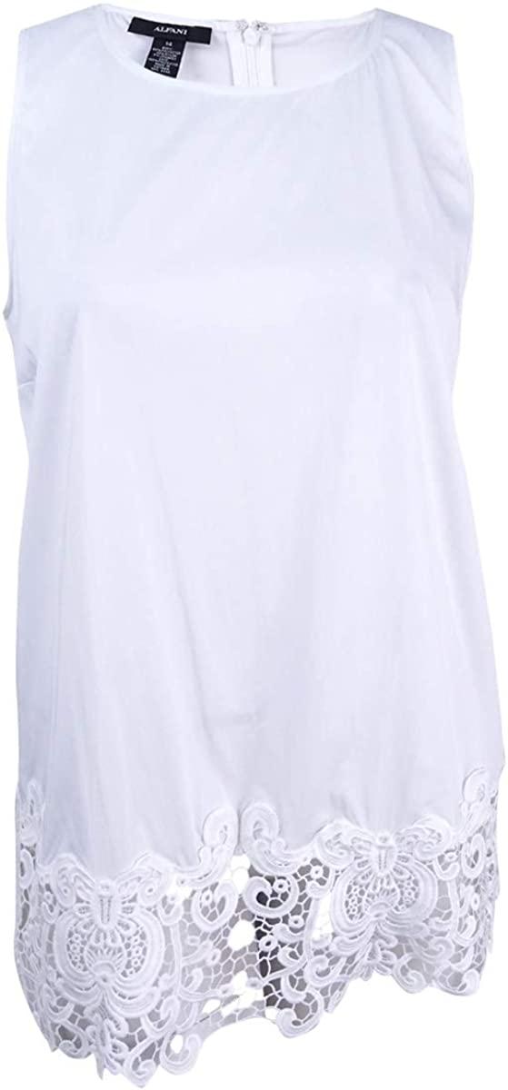 Alfani Plus Size Sleeveless Lace-Hem Tunic