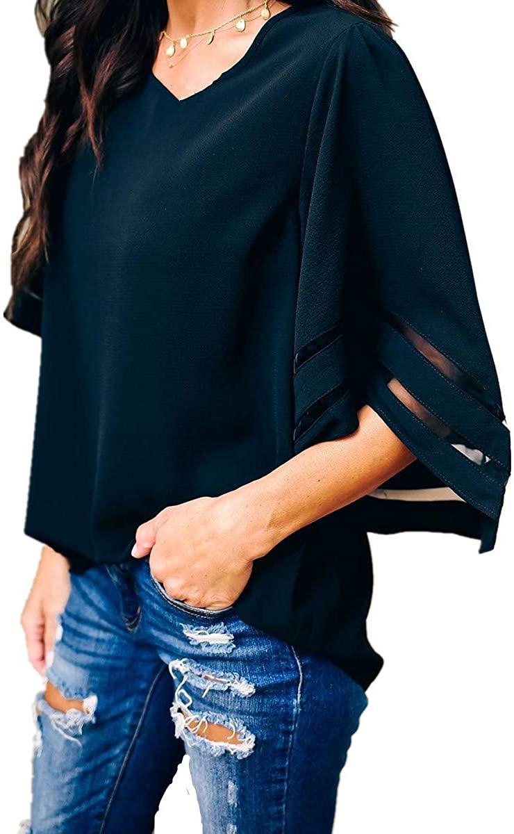 YEEFINE Womens Half Bell Sleeve Shirts Casual V Neck Mesh Striped Plus Size Tunic Tops