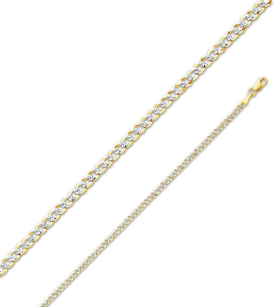 14k Two Tone Yellow and White Gold Solid 2.7mm Cuban Concaved Curb White Pave Diamond-Cut Chain Necklace with Secure Lobster Claw Clasp