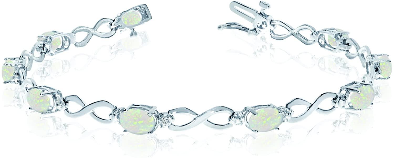 10K White Gold Oval Opal Stones And Diamonds Infinity Tennis Bracelet, 7
