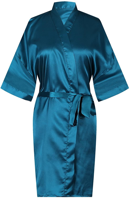 MISSFASHION Women Pure Color Short Satin Kimono Robe Silky Robe Satin Sleepwear