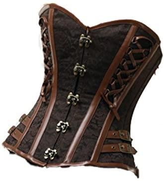 Sexy Brown Brocade Leather Steampunk Waist Cincher Plus Size Overbust Corset