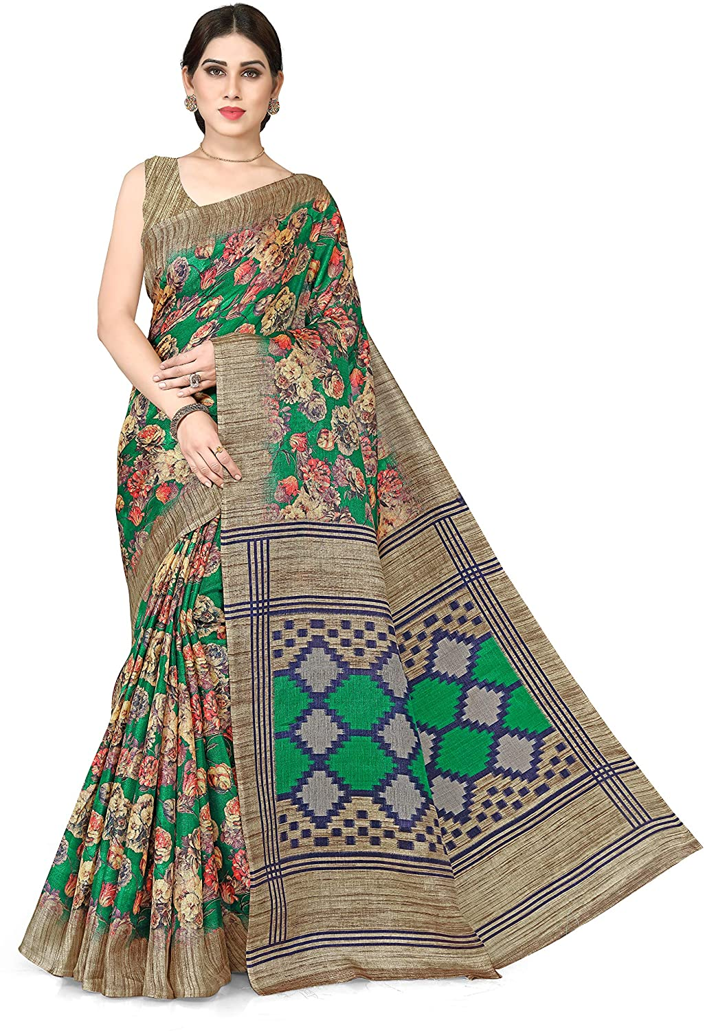Sourbh Womne's New Khadi Silk Floral Prints Saree with Un-Stitched Blouse Piece