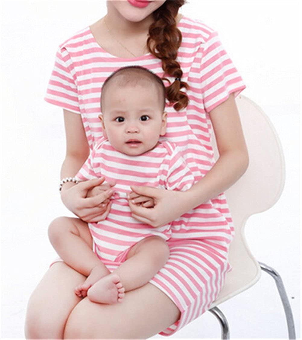 JWLG Striped Pregnant Women Breastfeeding Nursing Dress Baby Clothing Set
