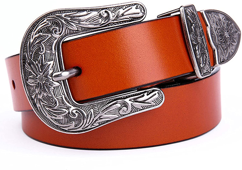Ayli Women's Jean Belt, Vintage Floral Handcrafted Genuine Leather Belt