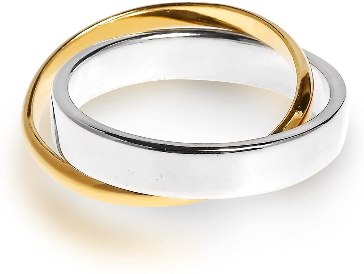 AeraVida Eternal Two Tone Interconnected Gold Plated Silver Ring
