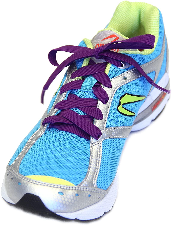 Slacklace - Flat Elastic Shoe Laces - No Lock, No Re-Tie, Purple, X-Small