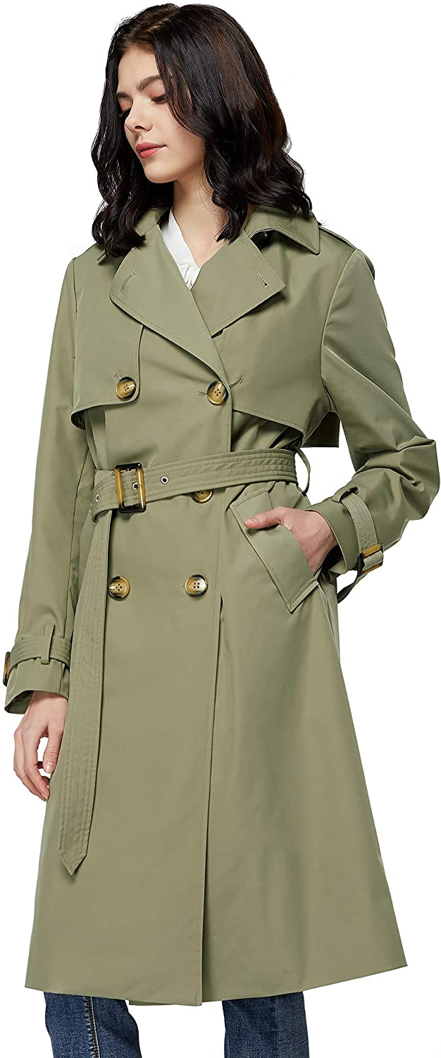 Orolay Women's Long Double Breasted Trench Coat with Belt Light Lape Overcoat