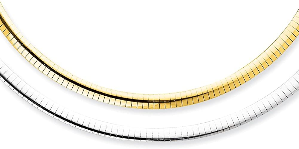 Solid 14k Gold Big Heavy 5mm Reversible White & Yellow Domed Omega Necklace Chain