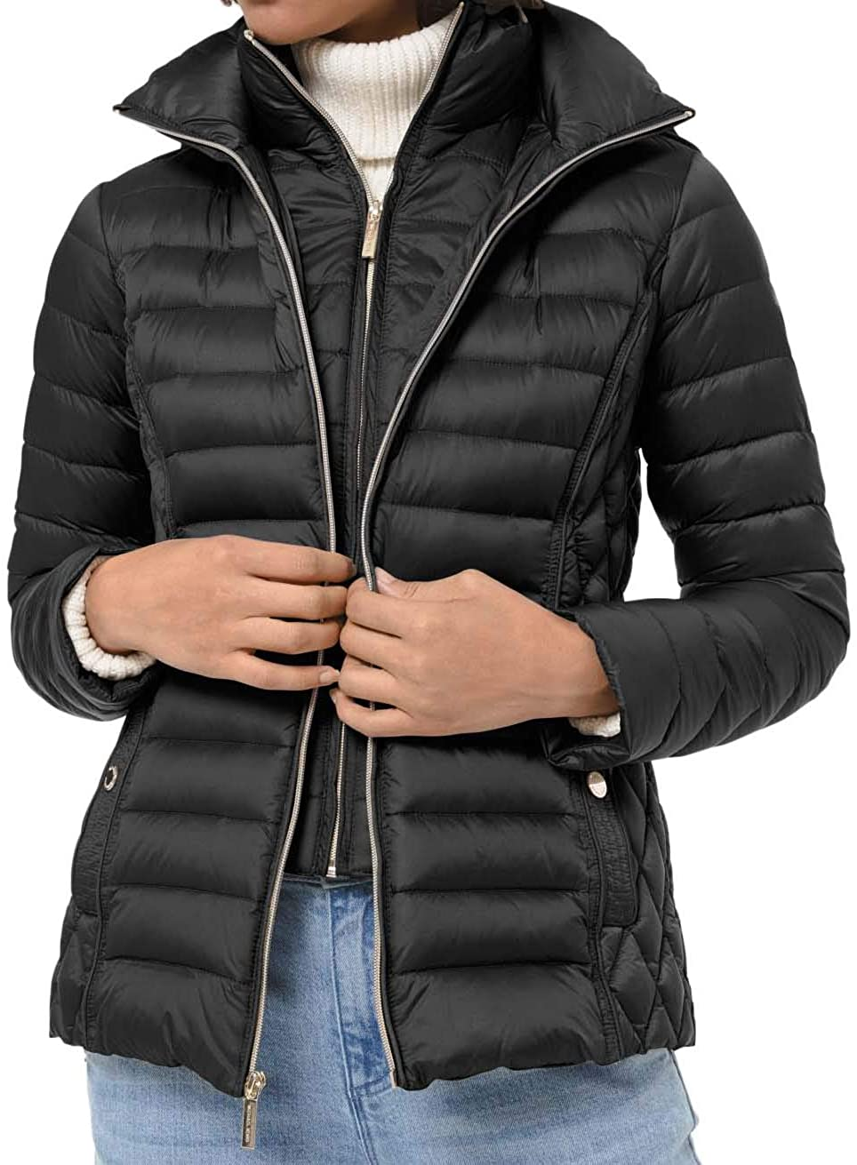 Michael Michael Kors Quilted Nylon Packable Puffer Jacket - Black